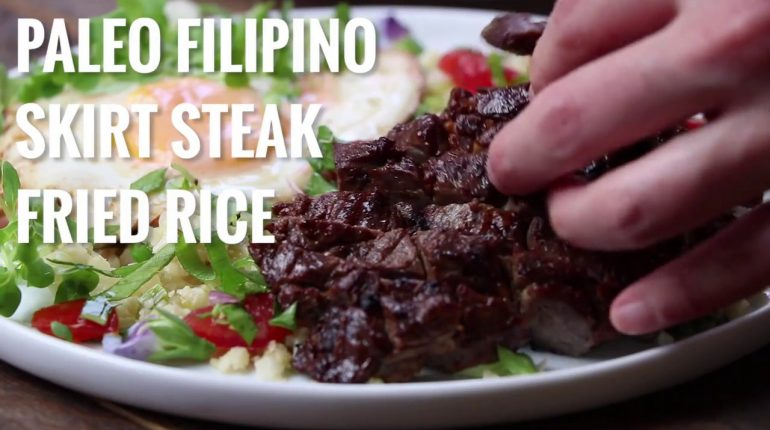 Paleo Filipino Skirt Steak Cauliflower Fried Rice | Whole30 Keto recipes