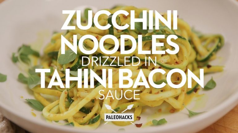 Zucchini Noodles Drizzled in Tahini Bacon Sauce | Paleo Recipe
