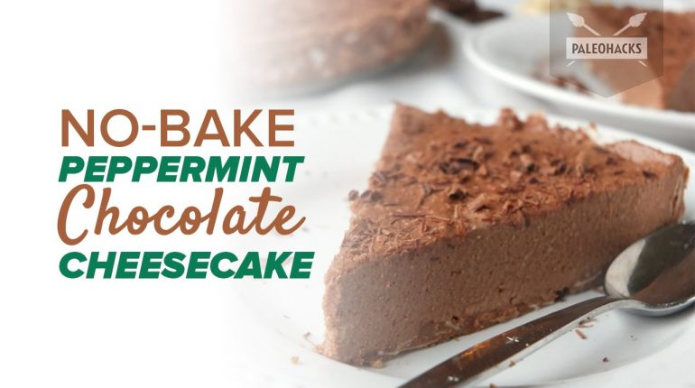 No-Bake Peppermint Chocolate Cheesecake | Paleo Recipe