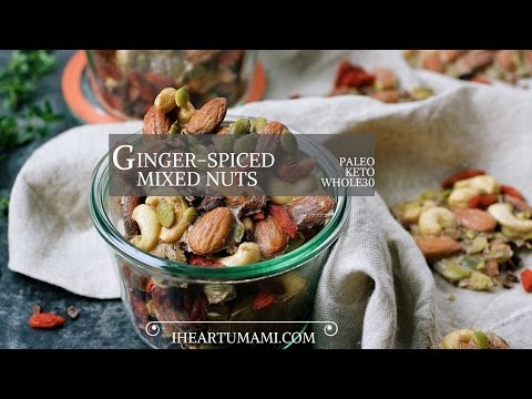 Paleo Ginger Spiced Mixed Nuts  - a holiday gift recipe !