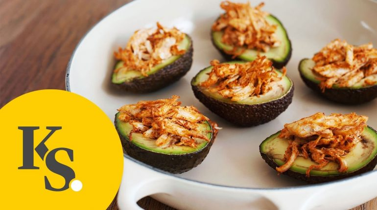 Pulled Chicken Stuffed Avocado | Paleo Recipe for Filled, Baked Avocado
