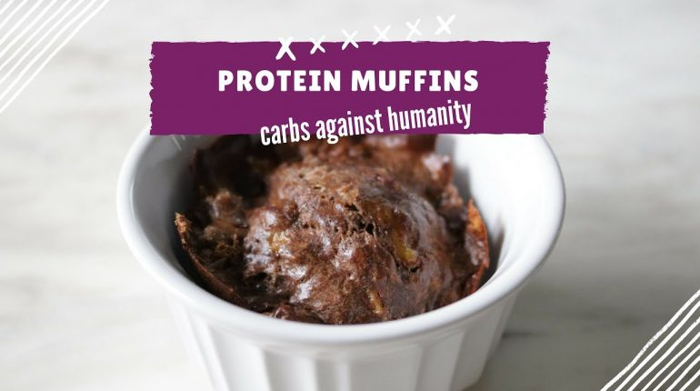 Flourless Low Carb Brownie Protein Muffins   Paleo Friendly Recipe