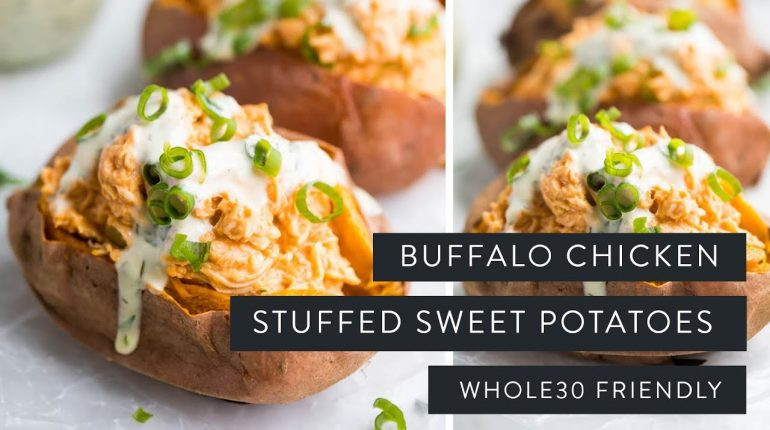BUFFALO CHICKEN STUFFED SWEET POTATOES » whole30 + paleo