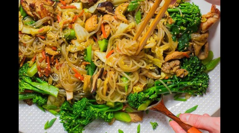 Healthy + Easy Japchae Recipe (Paleo Korean Sweet Potato Noodle Stir-Fry w/ Chicken & Vegetables)