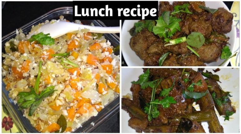 lunch recipe/liver fry/drumstic curry/cabbage carrot poriyal/paleo recipe