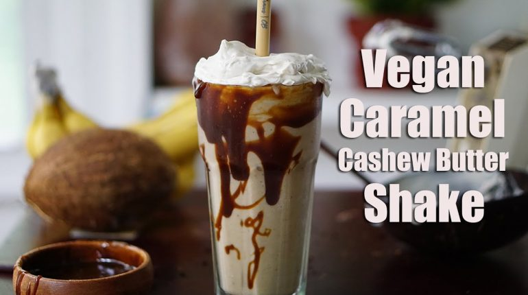 Vegan Caramel Cashew Butter Milkshake (Paleo, naturally-sweetened)