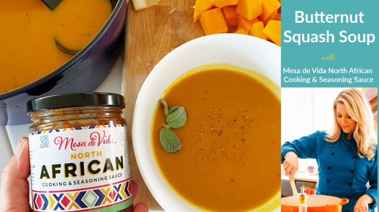 Easy butternut squash soup recipe with Moroccan flavors | Whole30 | Paleo | Vegan | Heart Healthy